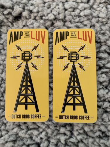 2 Dutch Bros Coffee February 2020 Amp Up The Luv Yellow Sticker - $10.25