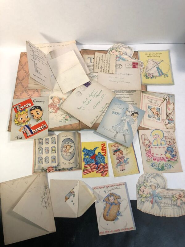 """Vintage 1941 """"Our Baby's First Seven Years""""  Book Used  Old Cards"""