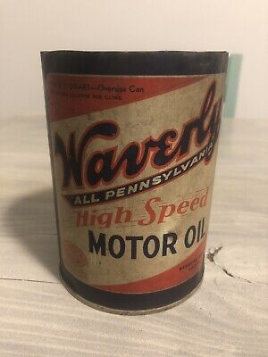 Vintage Waverly Motor Oil Can 1 Quart Waverly Oil Works Gas Oil