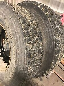4 11r22.5 drive tires recaped 60-70% with steel rims