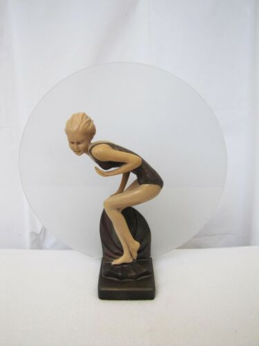 Art Deco Bronze Pin Up Girl Figurine Lamp