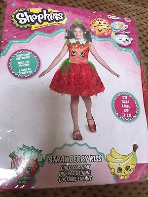 SHOPKINS Girl's Costume Strawberry Kiss Child Dress SIZE S 4-6 Complete Set NEW