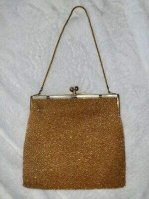 1920s Style Purses, Flapper Bags, Handbags Antique microglass Purse Gold Silk Interior Art Deco Great Shape c.1920s flapper $59.90 AT vintagedancer.com