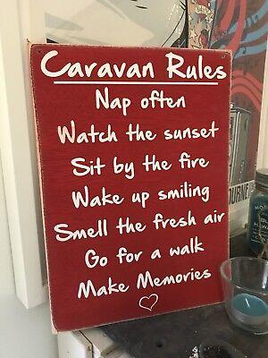 SALE Caravan Camper van Rules Holiday Novelty Gift Wood Hanging Plaque Sign Rd
