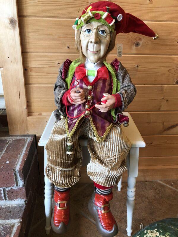 "RAZ Imports Large 24"" Sitting Elf Sewing Spool Thread Christmas NEW 3819131 Read"