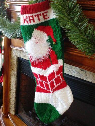 HAND KNIT CHRISTMAS STOCKING -SANTA w/ fuzzy 3D beard--Shipped next day!