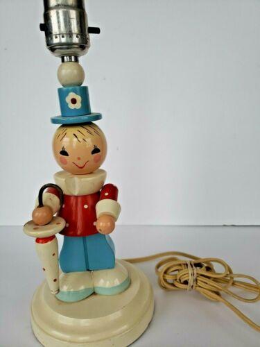 Vintage Irmi Nursery Originals Storybook Childrens Wooden Lamp Child Clown Light