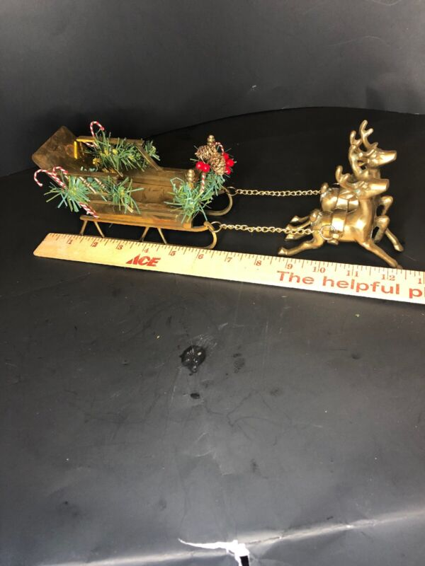 "BRASS SLEIGH WITH BRASS REINDEER 13 "" Christmas Santa's Sleigh Centerpiece"