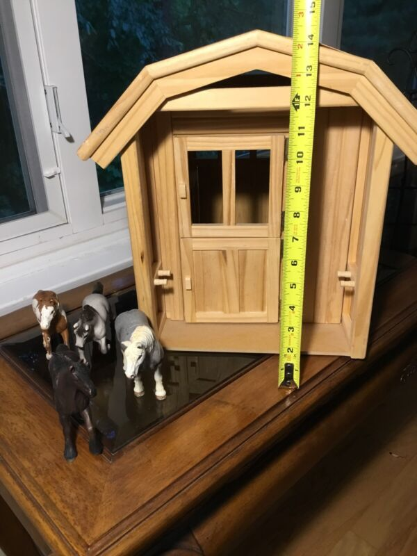 Handmade Wooden Horse Barn Stable Tack Room Toy With Horses