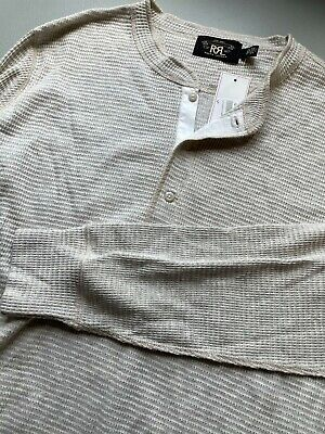 NWT RRL Henley Long Sleeve Shirt Size L Off White Cotton