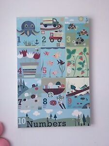 Kid room numbers art. French and Spanish.