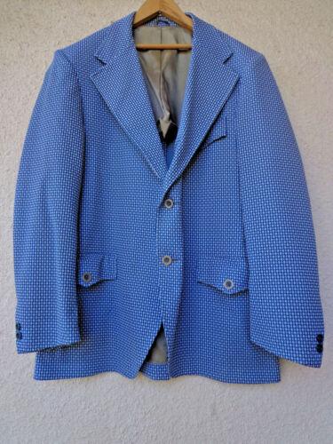 VTG Mens 60s 70s Blue Check Polyester Blazer Leisure Suit Jacket Coat Disco 44R