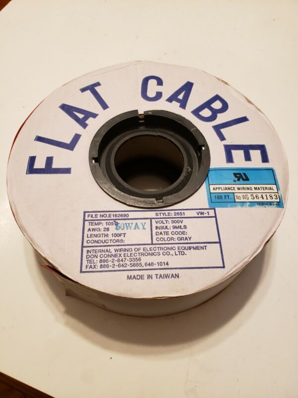 Flat Cable 100 Feet 50 Lead Spool