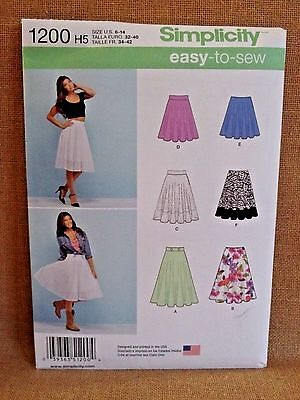 SIMPLICITY PATTERN 1200  EASY  SKIRTS   MISSES  SIZES 6 8 10 12 14  UNCUT