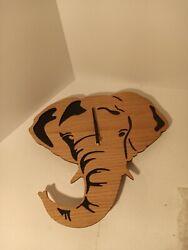 Driini Wooden Elephant Wall Clock Real Wood Veneer Battery Included