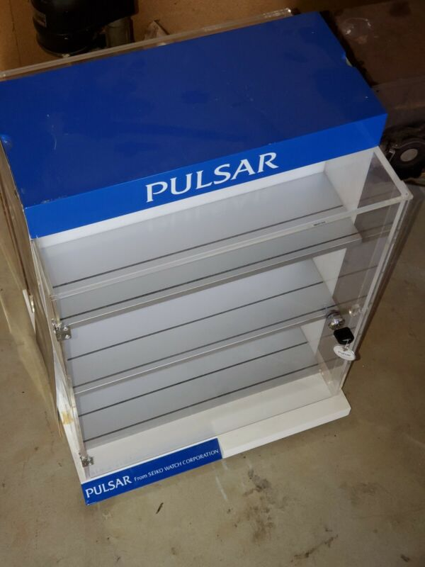 Vintage PULSAR Watch Jewelry Acrylic Rotating Locking Display Case Cable on Base