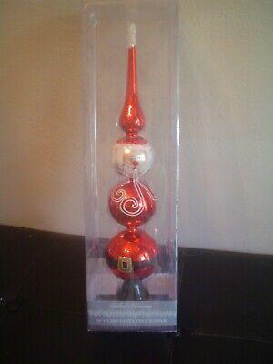 """Dillard's Trimming """"16 inch Glass"""" Santa Tree Topper – NIP"""
