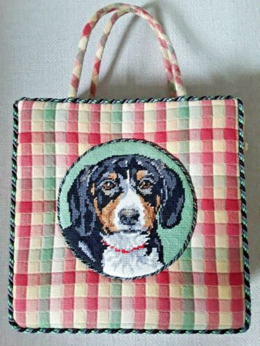FABULOUS HANDCRAFTED PURSE NEEDLEPOINT SWEET DOG IN CENTER DISPLAY OR USE!