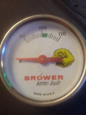 Vintage Brower Better-built Hatchery Chick Egg Incubator Thermometer