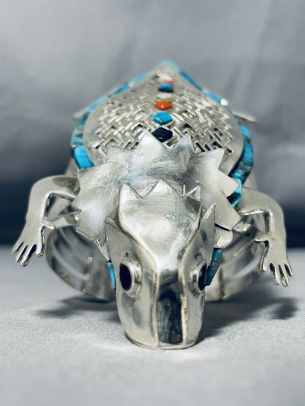 THE BEST EVER NAVAJO TURQUOISE TOAD STERLING SILVER BRACELET