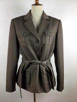 Belted Blazer - Tahari Arthur S. Levine Brown Four Button Up Waist Belt Blazer Jacket 12