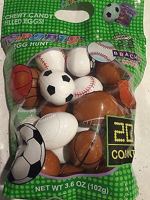 Sport Easter Eggs (CANDY PREFILLED EASTER EGGS HUNT SPORTS 20 PC JELLY BEANS EASTER BASKET)