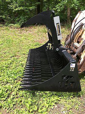 New 72 Rock Grapple Skid Steertractor 6 Brush Bucket -bobcat Case Cat Etc
