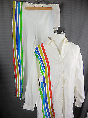 Vtg 1970s Catherine Ogust Penthouse Gallery Tunic Pant Suit Rainbow Mod Sz Small