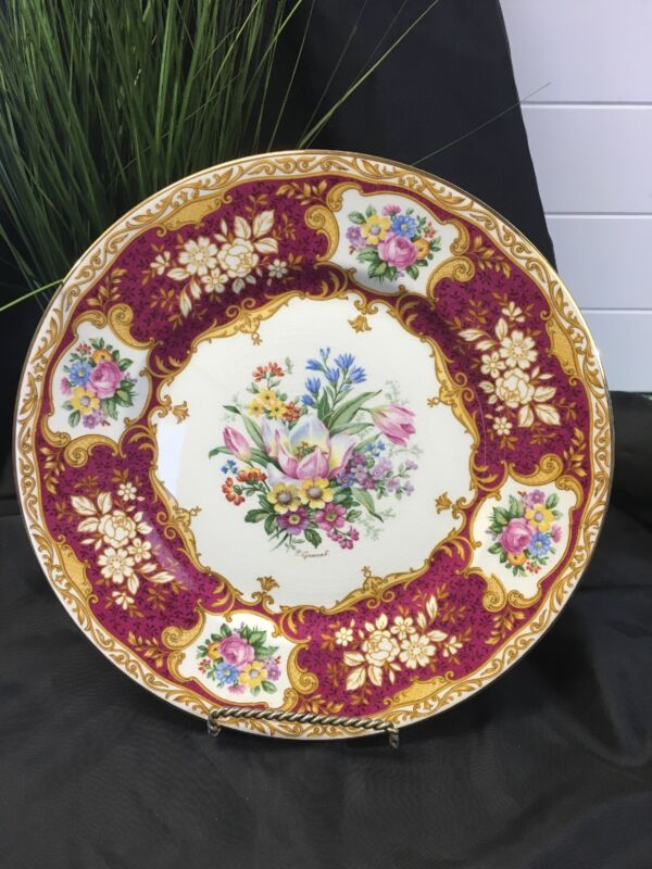 """Myott Cabinet Plate Staffordshire England 10 1/2"""" Pink With Tulip Center Signed"""