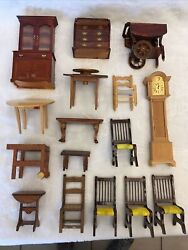 1:12 Vintage Dollhouse Furniture Victorian Doll House LOT Grandfather Clock +