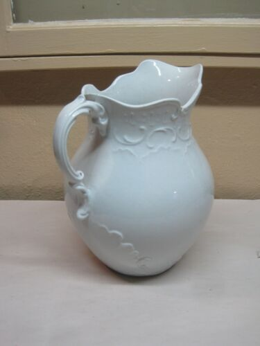 "Antique Decorative White Ironstone Water Pitcher 11"" Tall 26"" Around"