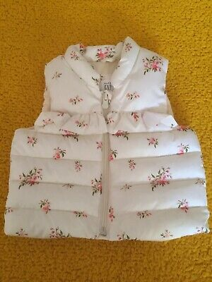 GAP Baby Girl Bodywarmer, Size 6-12 Months, White/flowers, New