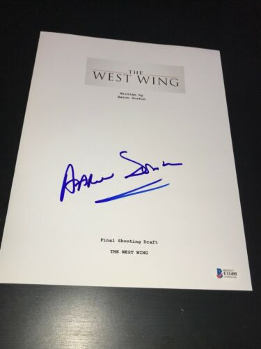 AARON SORKIN SIGNED AUTOGRAPH SCRIPT THE WEST WING TELEVISION BECKETT BAS AUTO D