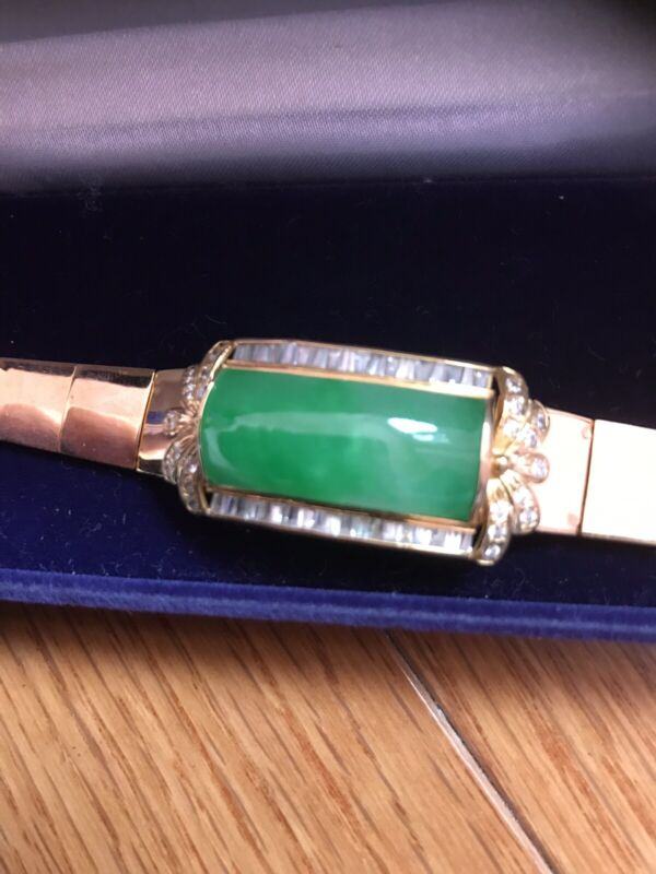 Vitage Wrist Bracelet Natural Jadeite  , Around 1930', Natural Grade A, Green