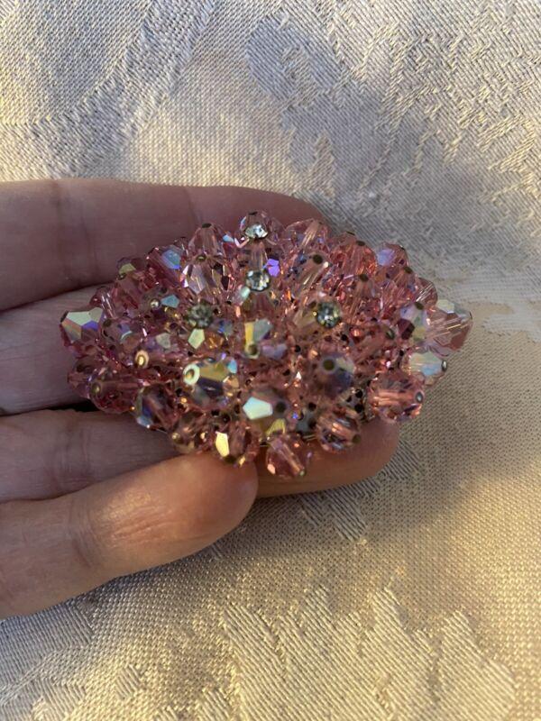 Vintage Pink Glass Bead Cluster Brooch. AB finish. Silvertone Back