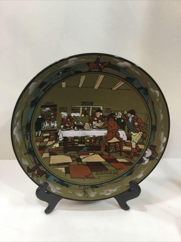 """1908 Buffalo Pottery Deldare Ware Platter Fallowfield Hunt, Breakfast, 12"""""""