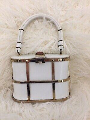 1950s Handbags, Purses, and Evening Bag Styles VINTAGE 1950s- 1960s SMALL WHITE BOX HANDBAG PURSE OVAL RECTANGLE CAGE FRAME $34.99 AT vintagedancer.com