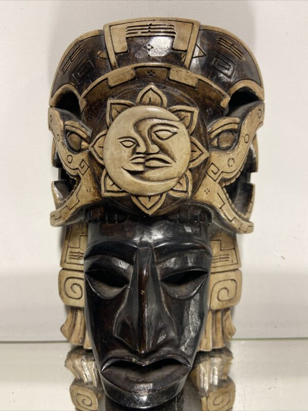 MASK Face AZTEC MAYAN INCA MASK MEXICAN CLAY POTTERY FOLK ART Sun/Moon God