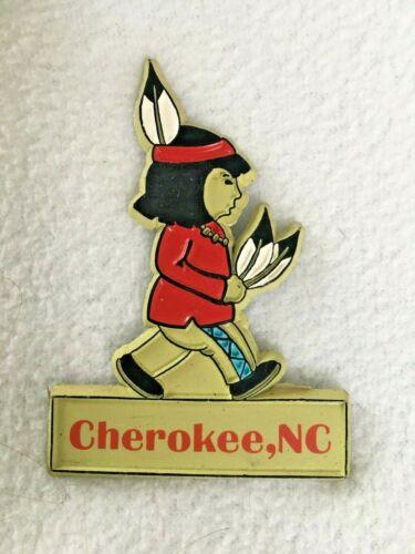 VINTAGE North Carolina Tourist Souvenir Magnet Cherokee NC INDIAN