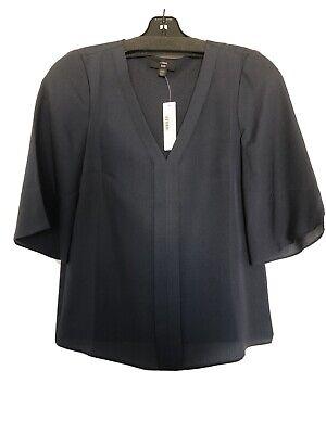 NWT J.crew Silk Bell Sleeve Top Navy XXS Silk Bell Sleeve