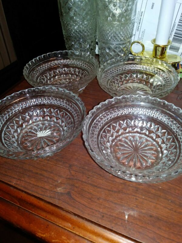 LOT OF 4 Anchor Hocking Wexford Berry Bowls VINTAGE RETRO FREE SHIPPING