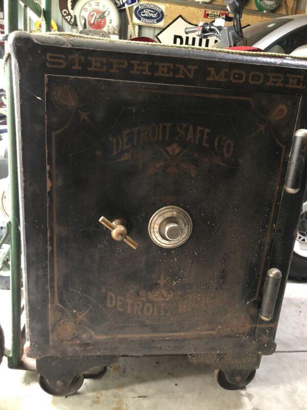 Antique Vintage Large Iron Floor Safe