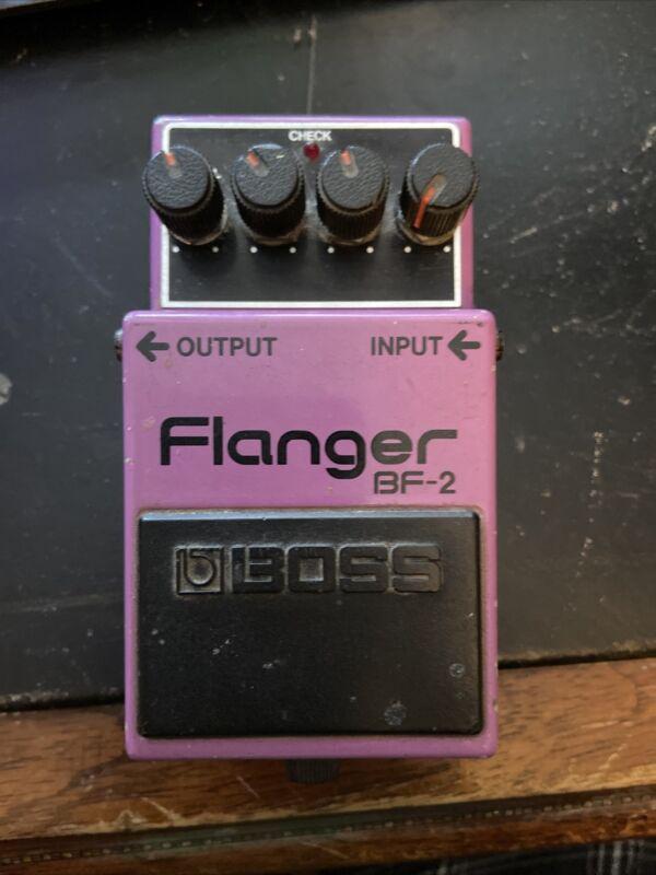 BOSS BF-2 Flanger 1983 Effects Pedal Made in Japan Vintage Black Label