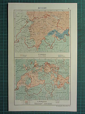 1921 MAP ~ SWITZERLAND ~ LANGUAGES & RELIGIONS CATHOLICS ISRAELITES PROTESTANTS