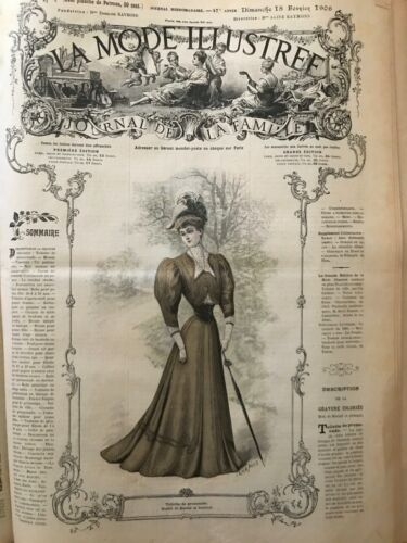 French MODE ILLUSTREE SEWING PATTERN Feb 18,1906 Afternoon dress, collet, blouse