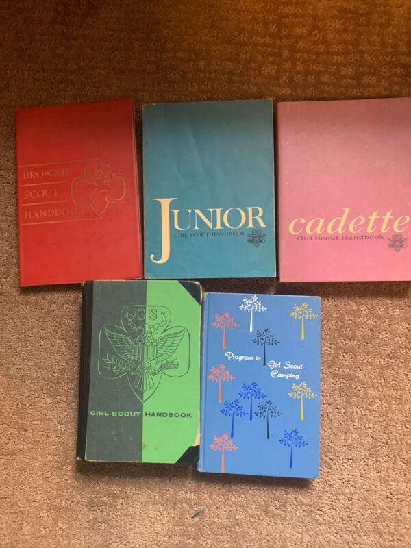 Vintage Lot Of 5 Girl Scouts Books Cadet Junior Handbook Camping