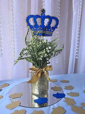 Royal Crown/ Royal blue and gold crown/ Prince Crown centerpieces stick - Royal Blue And Gold