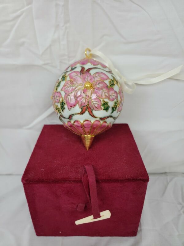 """Cloisonne Pink Flowers 1 1/2"""" Ball Christmas Ornaments In the Box"""