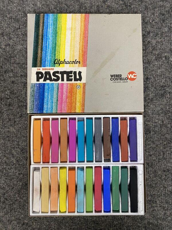 Vintage Weber Costello ALPHACOLOR Pastels 24 Sticks Non-toxic *Near Mint*