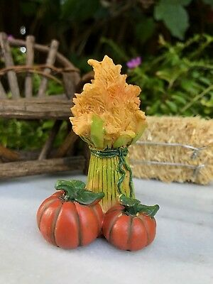 Miniature Dollhouse FAIRY GARDEN ~ Mini Fall HALLOWEEN Wheat Sheaf with Pumpkins (Halloween Fairy Garden)